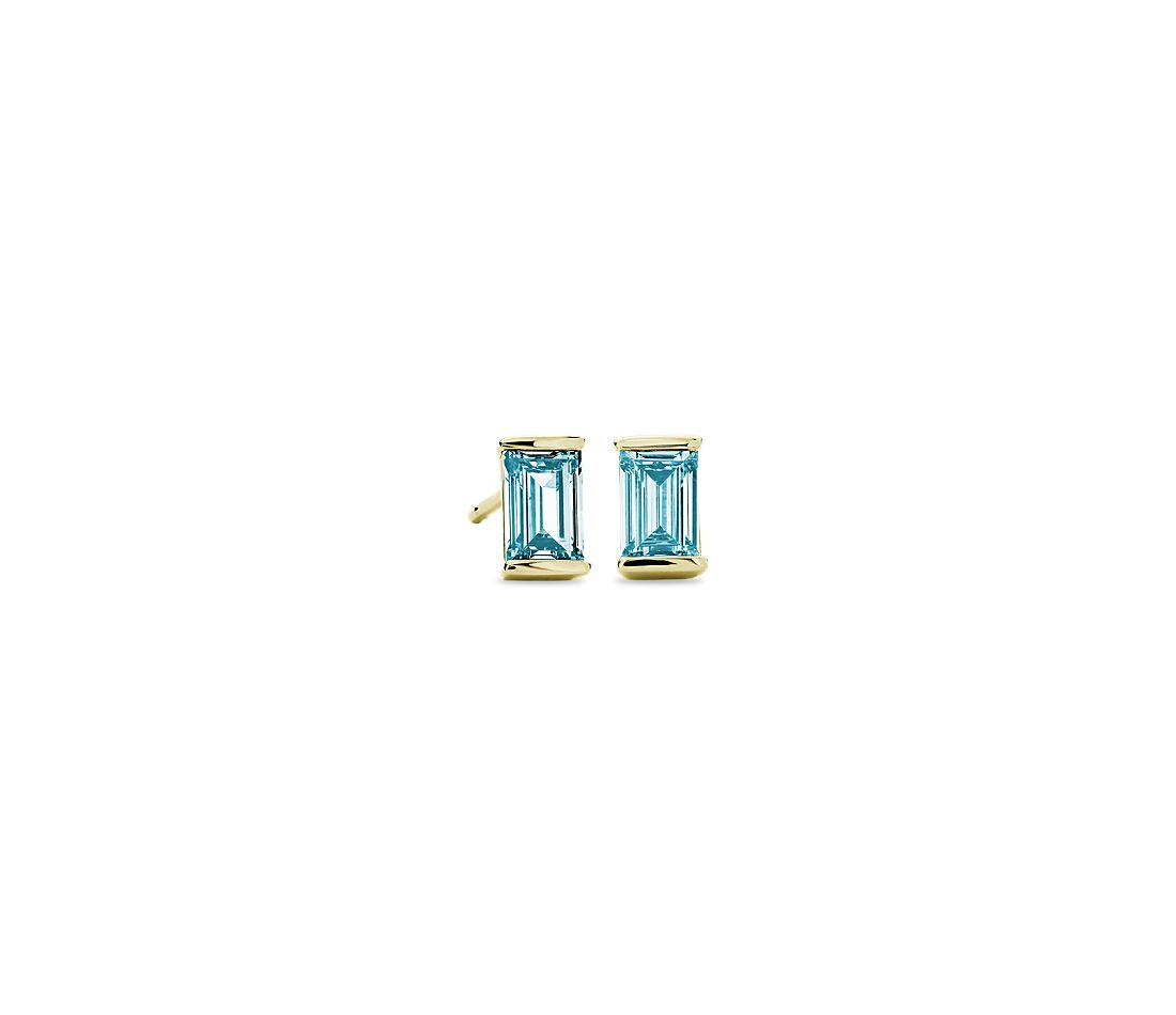 LIGHTBOX Lab-Grown Blue Solitaire Diamond Baguette Stud Earrings in 14k Yellow Gold (3/4 ct. tw.)
