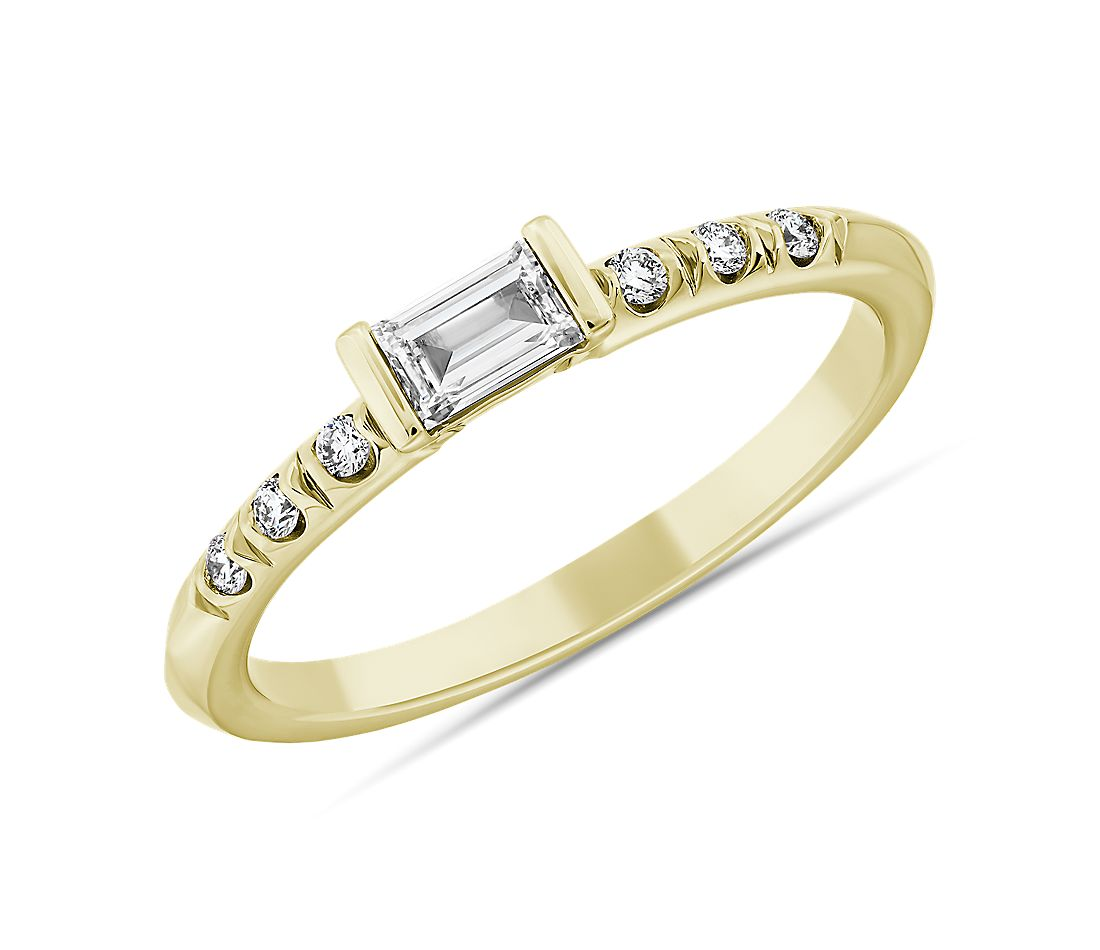 LIGHTBOX Lab-Grown Diamond Baguette Stackable Ring in 14k Yellow Gold (1/3 ct. tw.)