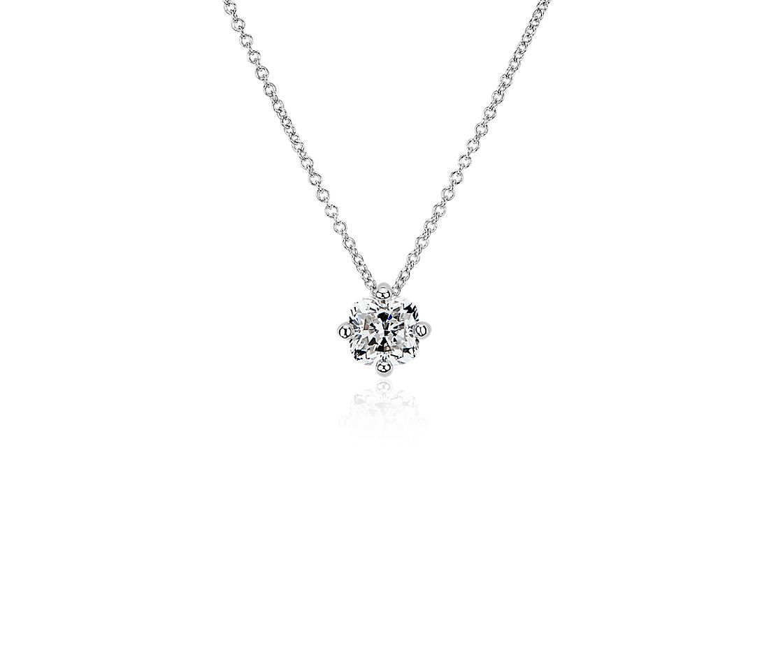 LIGHTBOX Lab-Grown Diamond Cushion Solitaire Pendant Necklace in 14k White Gold (1 ct. tw.)