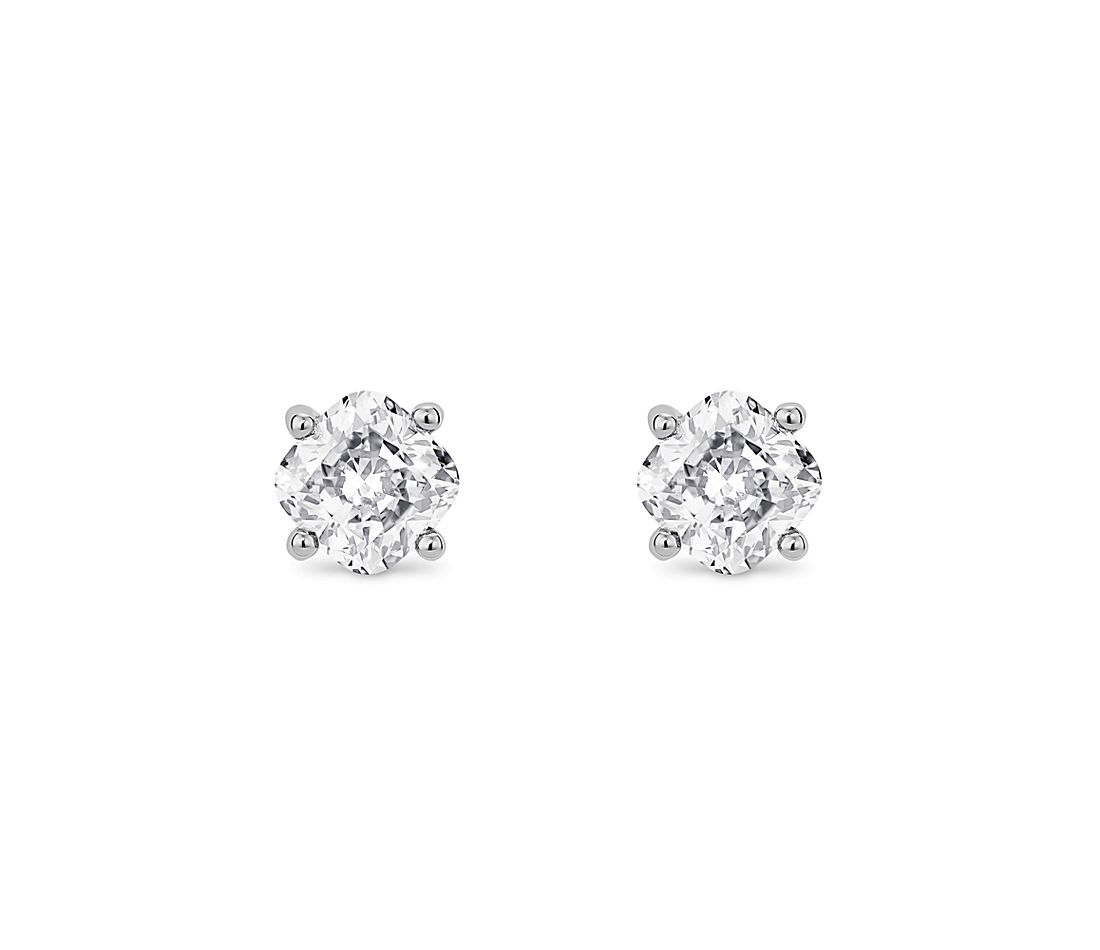 LIGHTBOX Lab-Grown Diamond Cushion Solitaire Stud Earrings in 14k White Gold (1 ct. tw.)