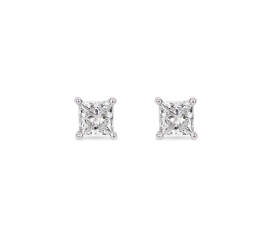LIGHTBOX Lab-Grown Diamond Princess Solitaire Stud Earrings in 14k White Gold (1 ct. tw.)