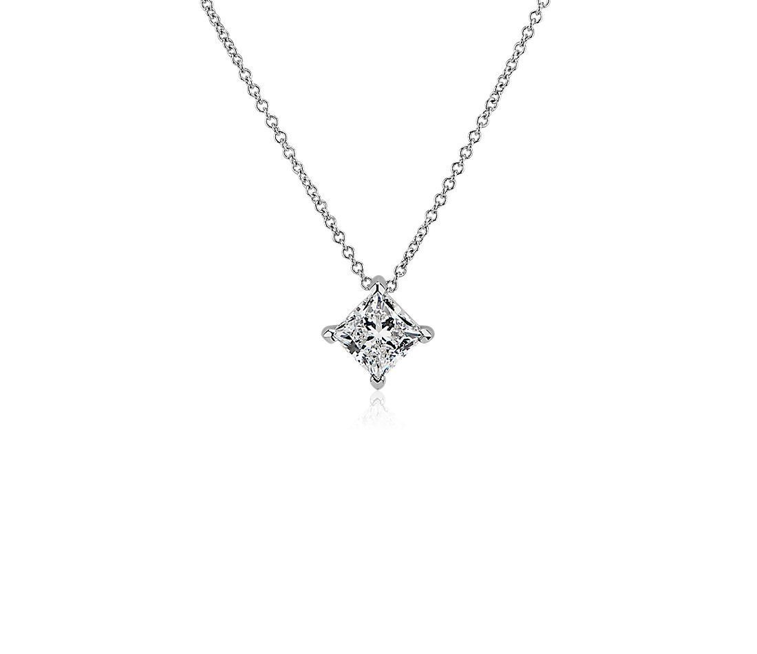LIGHTBOX Lab-Grown Diamond Princess Solitiare Pendant Necklace in 14k White Gold (1 ct. tw.)