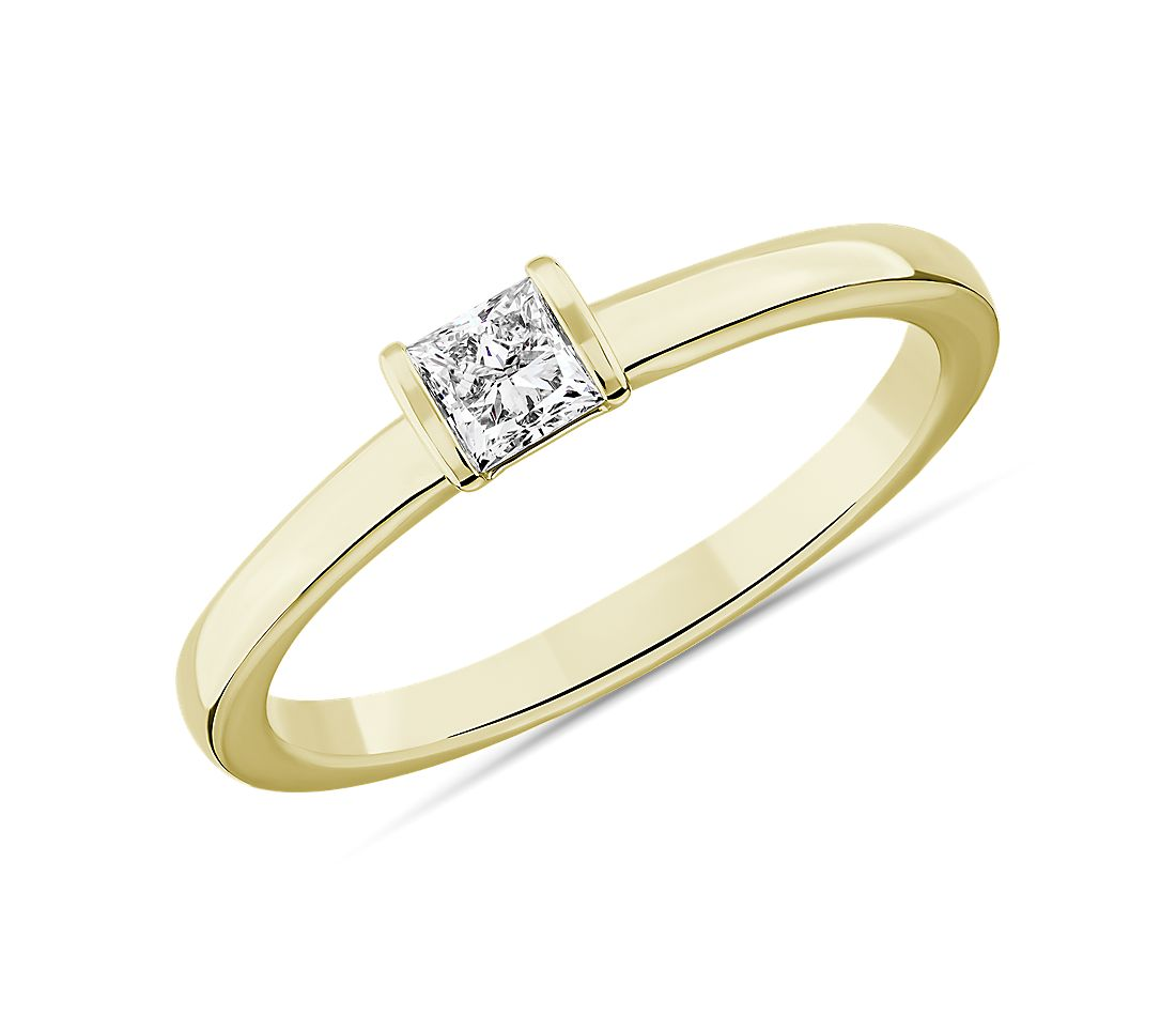 LIGHTBOX Lab-Grown Diamond Princess Stackable Ring in 14k Yellow Gold (1/4 ct. tw.)