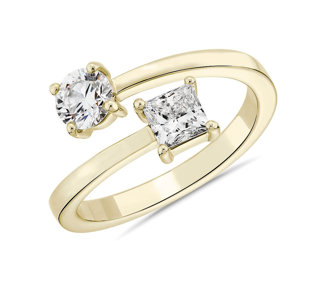 LIGHTBOX Lab-Grown Diamond Round & Princess Bypass Ring in 14k Yellow Gold (1 ct. tw.)