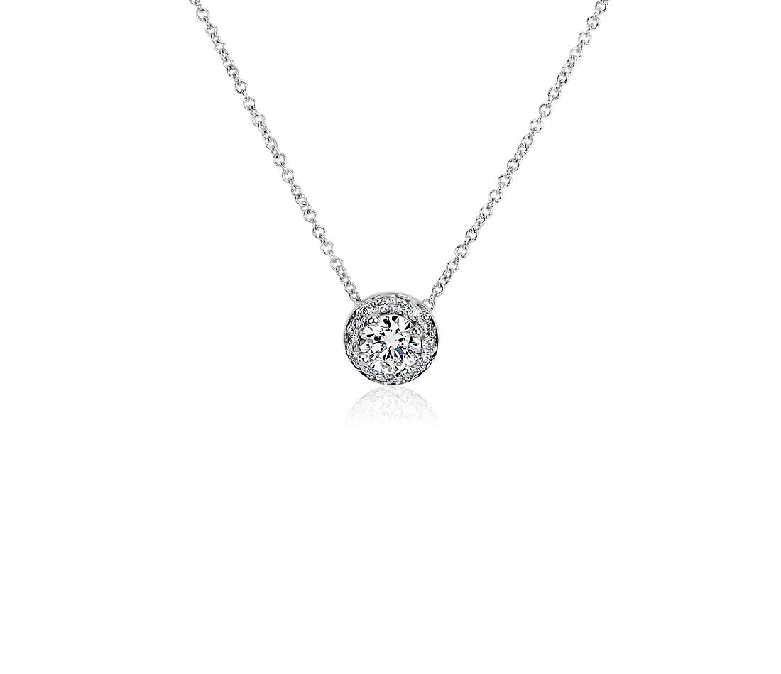 LIGHTBOX Lab-Grown Diamond Round Halo Pendant Necklace in 14k White Gold (1/2 ct. tw.)