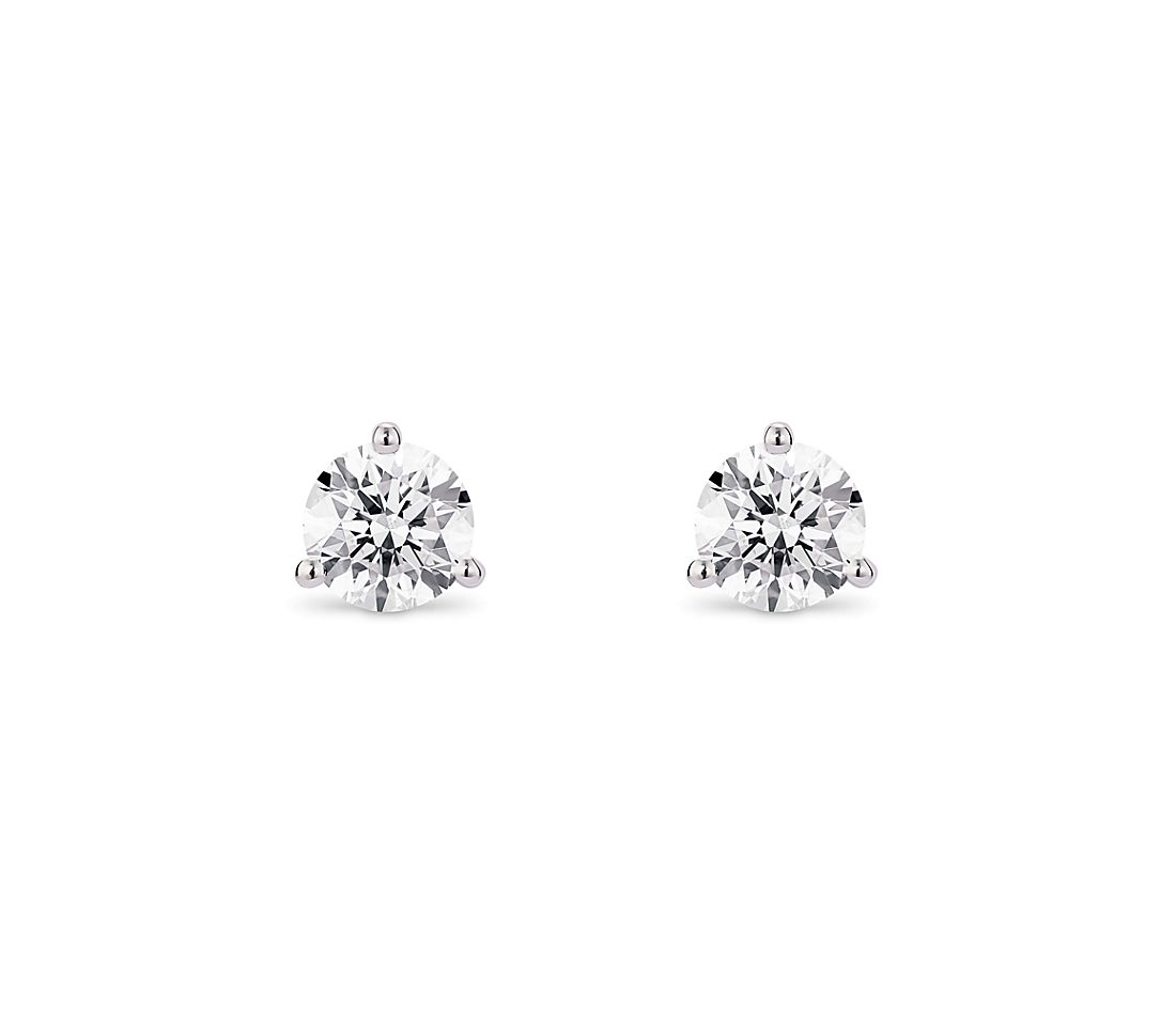 LIGHTBOX Lab-Grown Diamond Round Solitaire Martini Stud Earrings in 14k White Gold (1 ct. tw.)