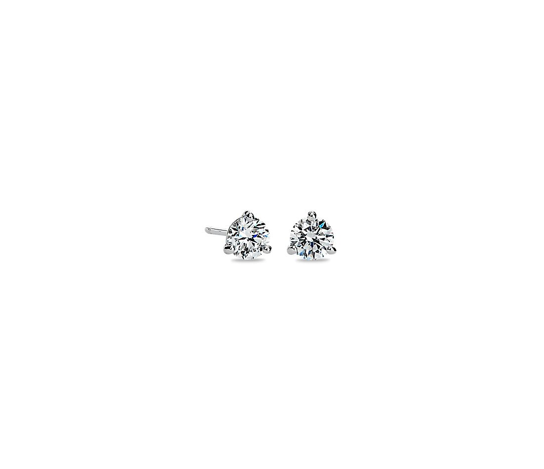 LIGHTBOX Lab-Grown Diamond Round Solitaire Martini Stud Earrings in 14k White Gold (1/2 ct. tw.)