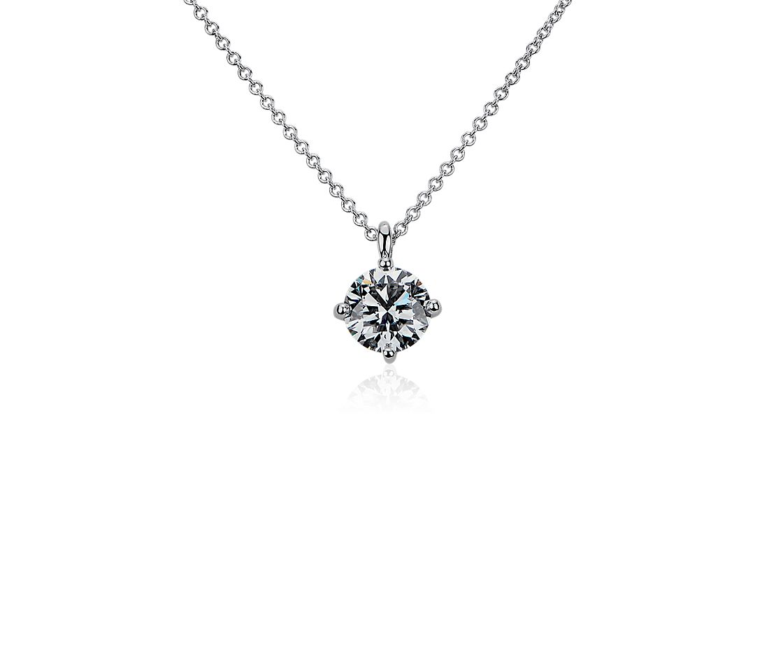 LIGHTBOX Lab-Grown Diamond Round Solitaire Pendant Necklace in 14k White Gold (1 ct. tw.)