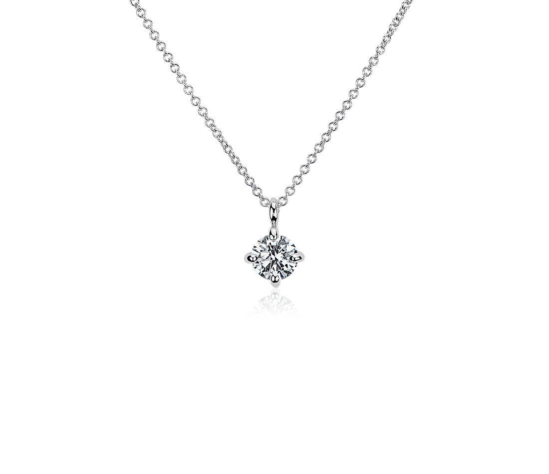 LIGHTBOX Lab-Grown Diamond Round Solitaire Pendant Necklace in 14k White Gold (1/2 ct. tw.)