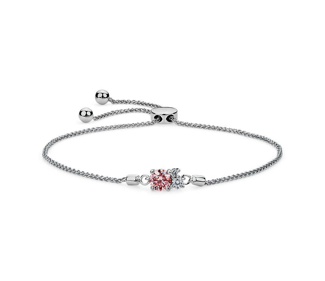 LIGHTBOX Lab-Grown Pink & White Diamond Cluster Bolo Bracelet in 14k White Gold (1/2 ct. tw.)