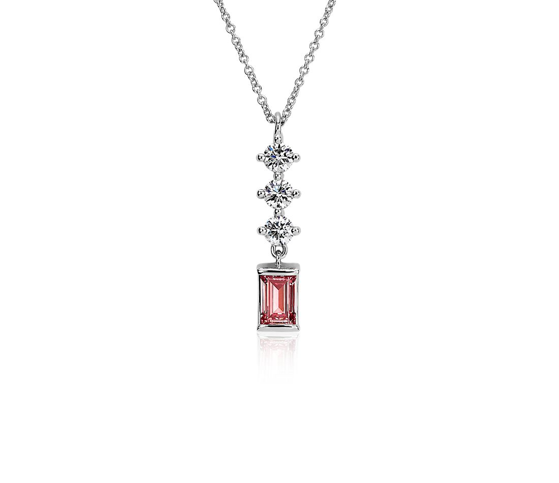 LIGHTBOX Lab-Grown Pink & White Diamond Round & Baguette Drop Bar Pendant Necklace in 14k White Gold (1 ct. tw.)