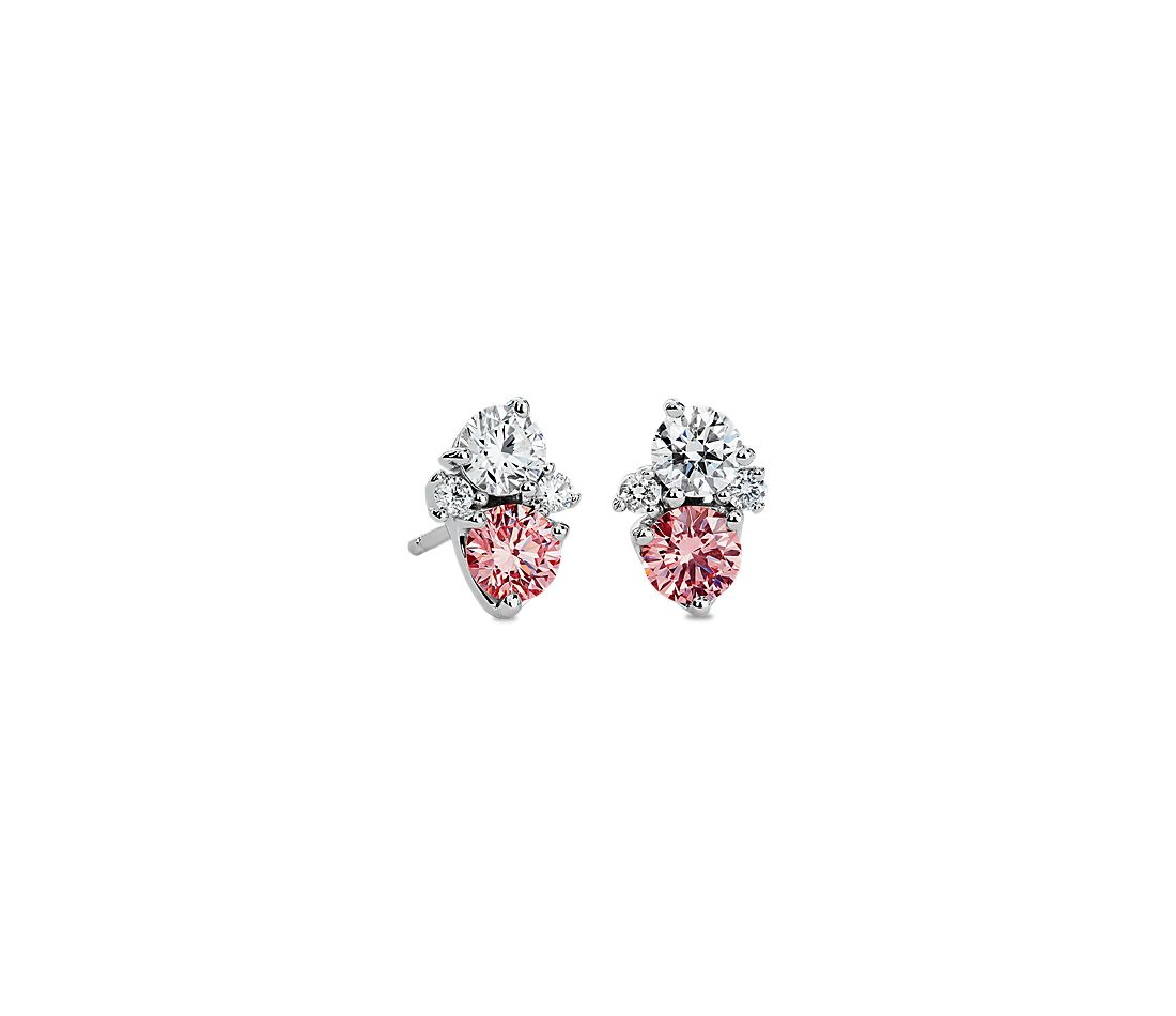 LIGHTBOX Lab-Grown Pink & White Diamond Round Cluster Earrings in 14k White Gold (1 ct. tw.)