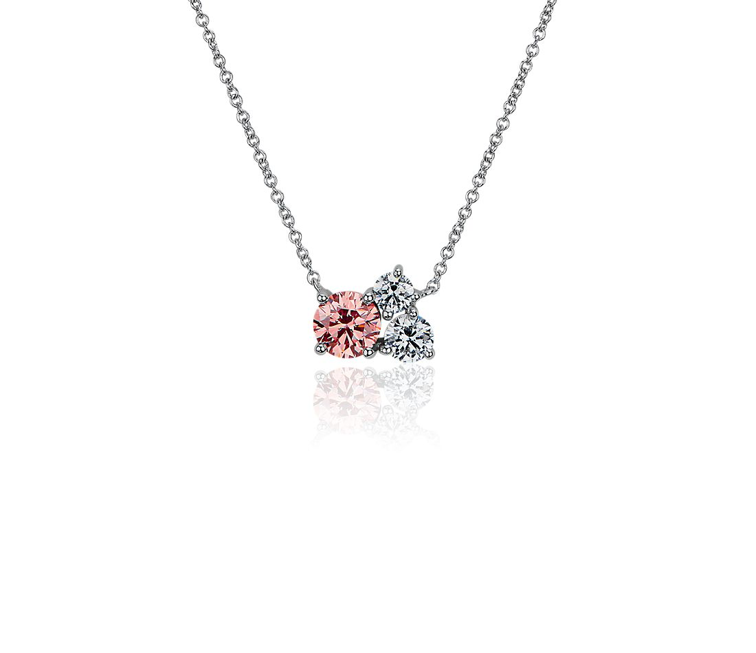 LIGHTBOX Lab-Grown Pink & White Diamond Round Cluster Pendant Necklace in 14k White Gold (1 ct. tw.)