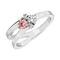 14k 白金 LIGHTBOX 实验室合成粉钻和白钻圆形群簇戒指(1/2 克拉总重量)
