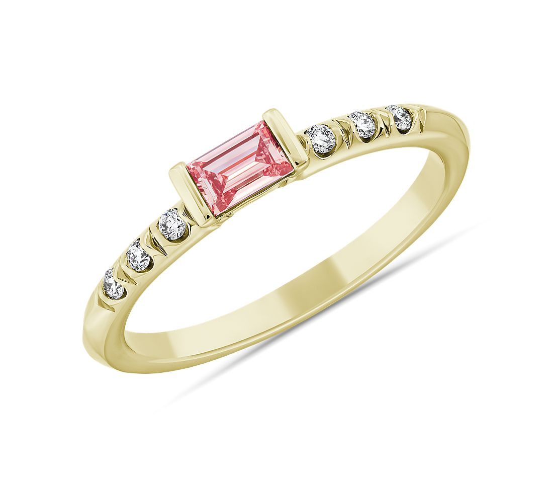 LIGHTBOX Lab-Grown Pink Diamond Baguette Stackable Ring in 14k Yellow Gold (1/3 ct. tw.)