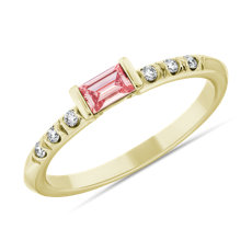 NEW LIGHTBOX Lab-Grown Pink Diamond Baguette Stackable Ring in 14k Yellow Gold (1/3 ct. tw.)