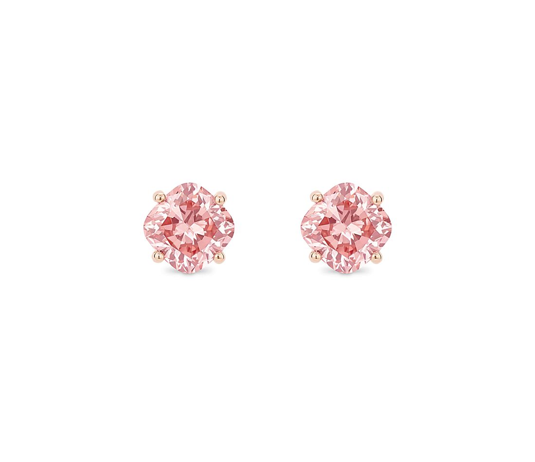 LIGHTBOX Lab-Grown Pink Diamond Cushion Solitaire Stud Earrings in 14k Rose Gold (1 1/2 ct. tw.)