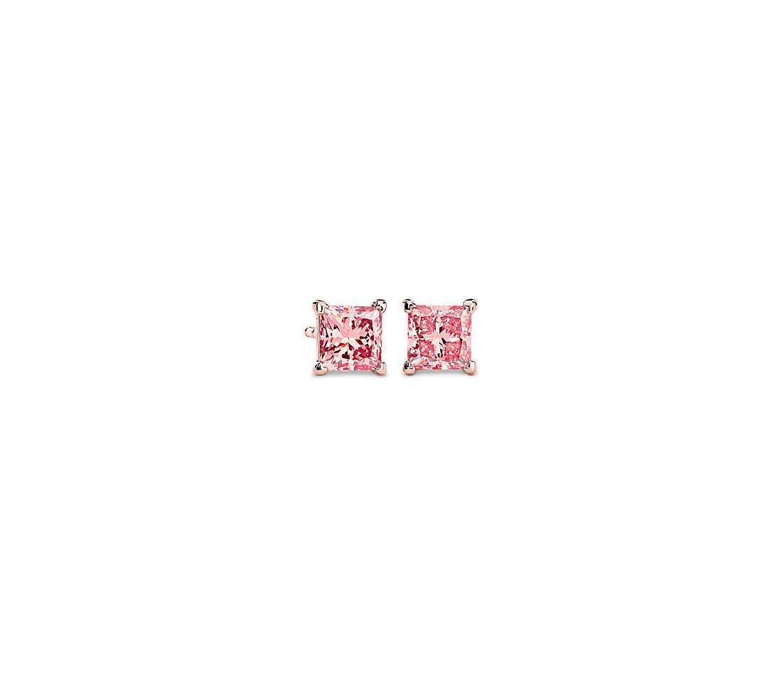 LIGHTBOX Lab-Grown Pink Diamond Princess Solitaire Stud Earrings in 14k Rose Gold (1 ct. tw.)