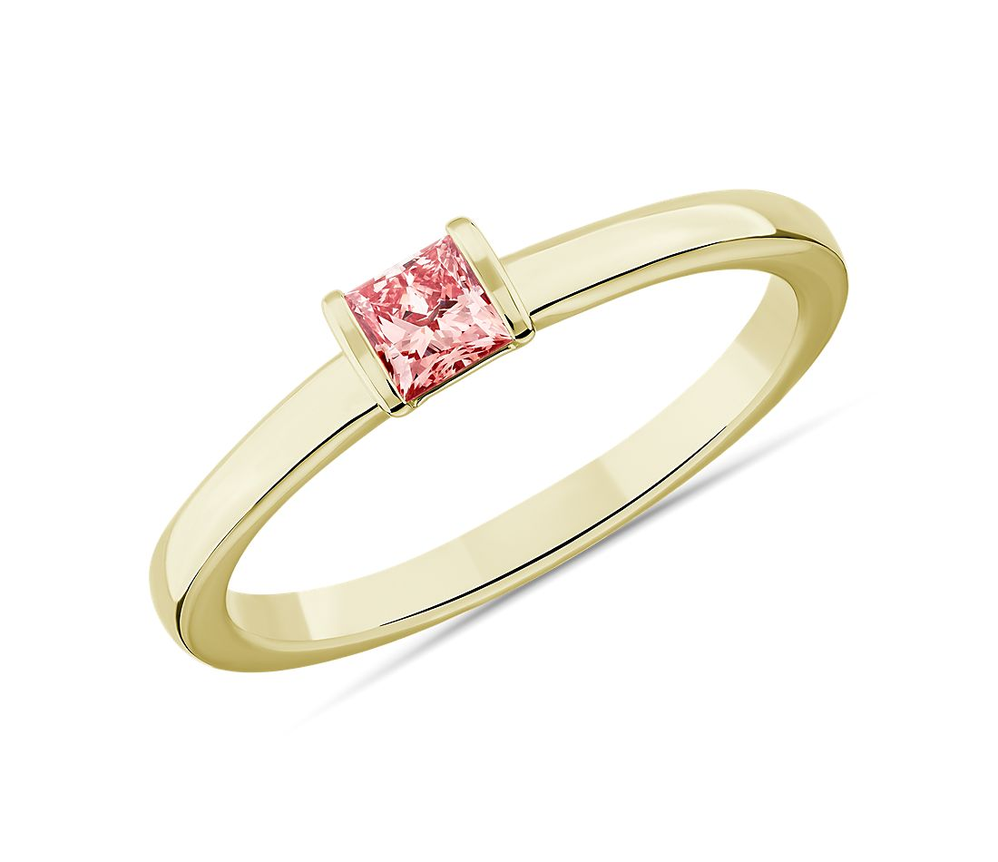 LIGHTBOX Lab-Grown Pink Diamond Princess Stackable Ring in 14k Yellow Gold (1/4 ct. tw.)