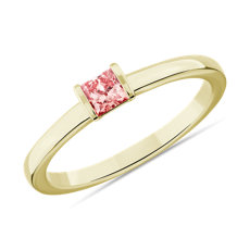 LIGHTBOX Bague superposable avec diamant princesse rose cultivé en laboratoire en or jaune 14 carats (1/4 carat, poids total)