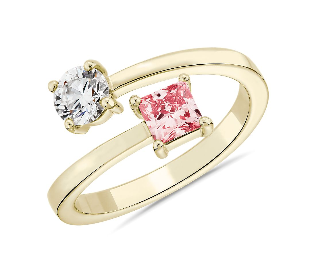 LIGHTBOX Lab-Grown Pink Diamond Round & Princess Bypass Ring in 14k Yellow Gold (1 ct. tw.)