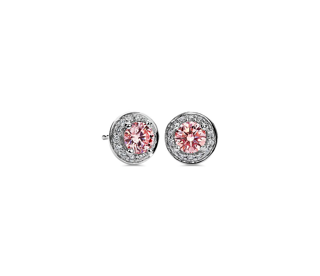 LIGHTBOX Lab-Grown Pink Diamond Round Halo Earrings in 14k White Gold (1 ct. tw.)