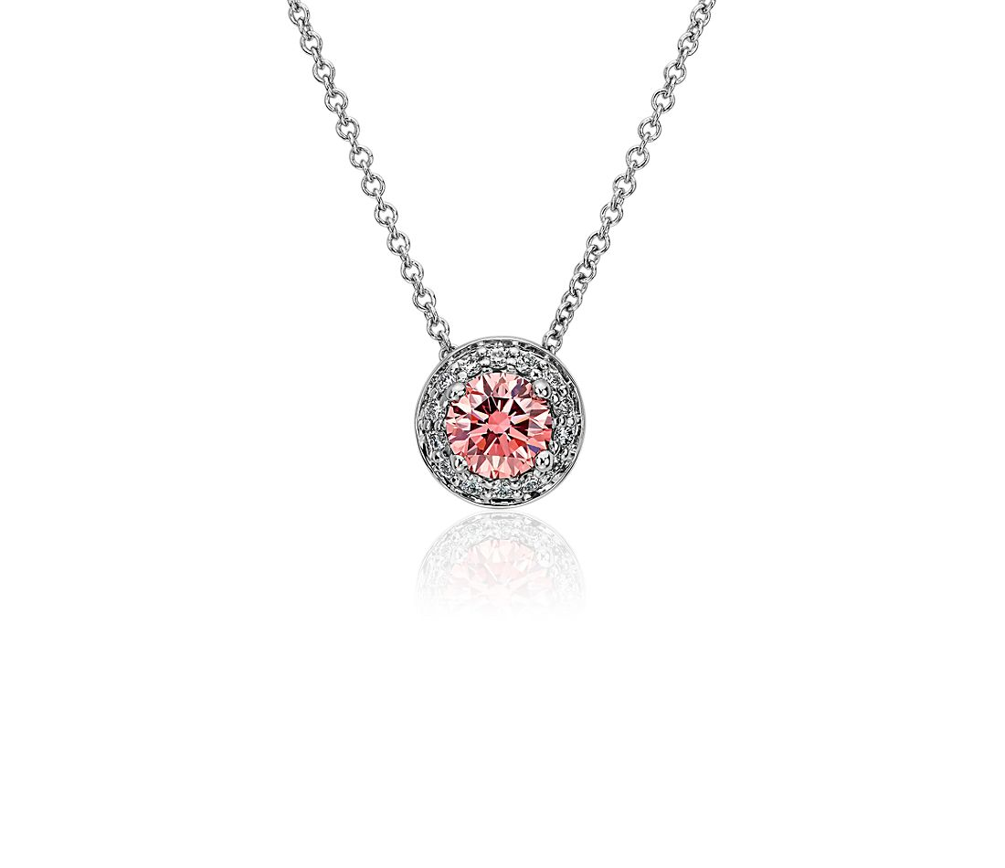 LIGHTBOX Lab-Grown Pink Diamond Round Halo Pendant Necklace in 14k White Gold (1/2 ct. tw.)
