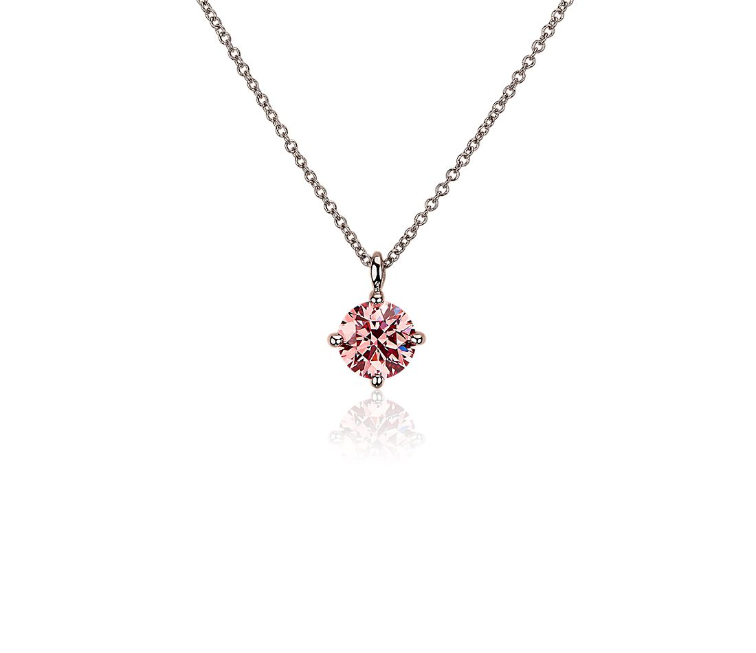 LIGHTBOX Lab-Grown Pink Diamond Round Solitaire Pendant Necklace in 14k Rose Gold (1 ct. tw.)