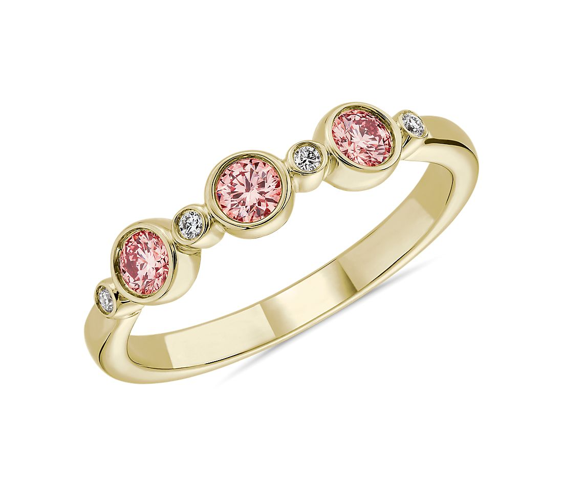 LIGHTBOX Lab-Grown Pink Diamond Round Stackable Ring in 14k Yellow Gold (1/3 ct. tw.)