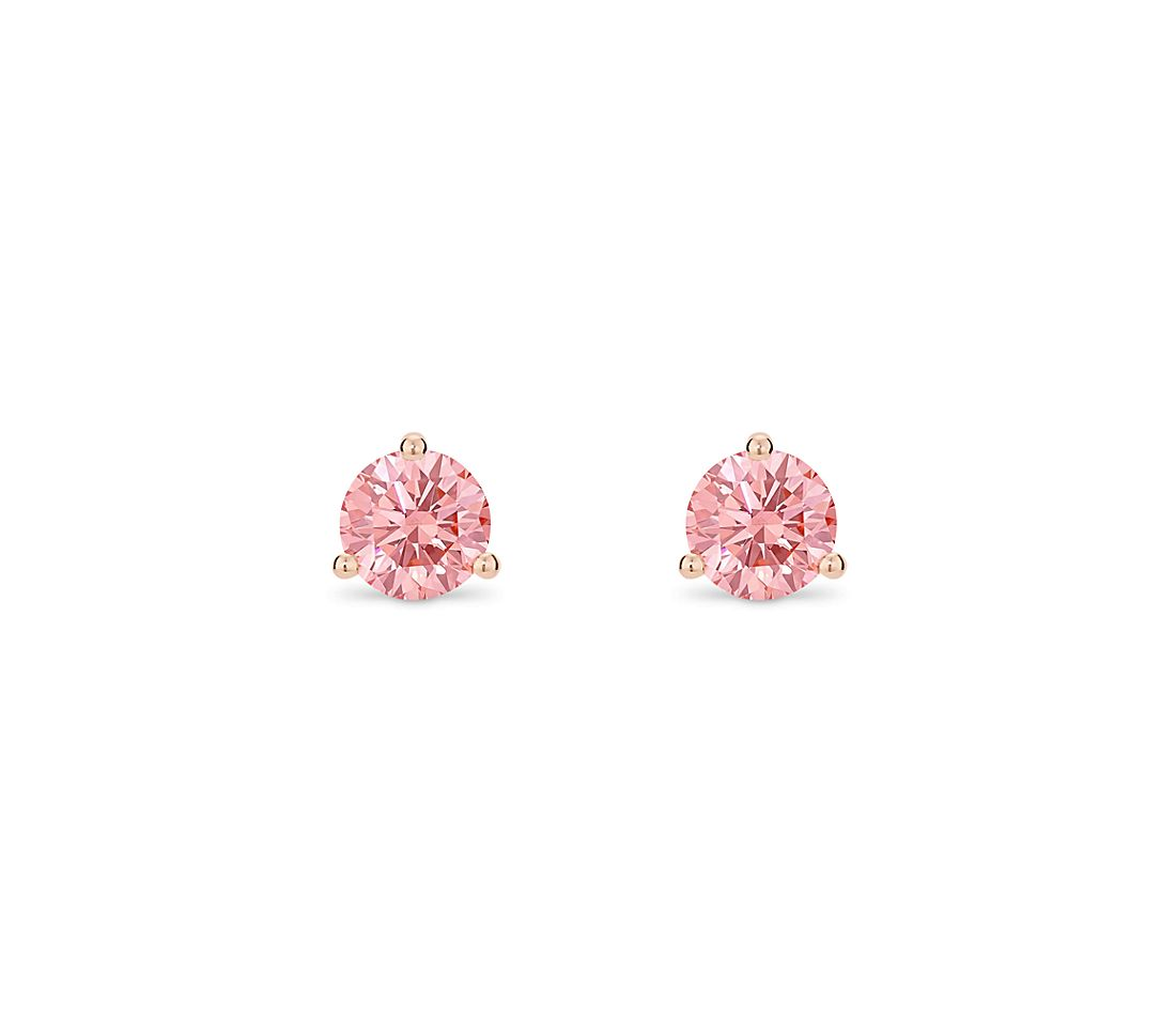 LIGHTBOX Lab-Grown Pink Round Diamond Solitaire Martini Stud Earrings in 14k Rose Gold (1 ct. tw.)