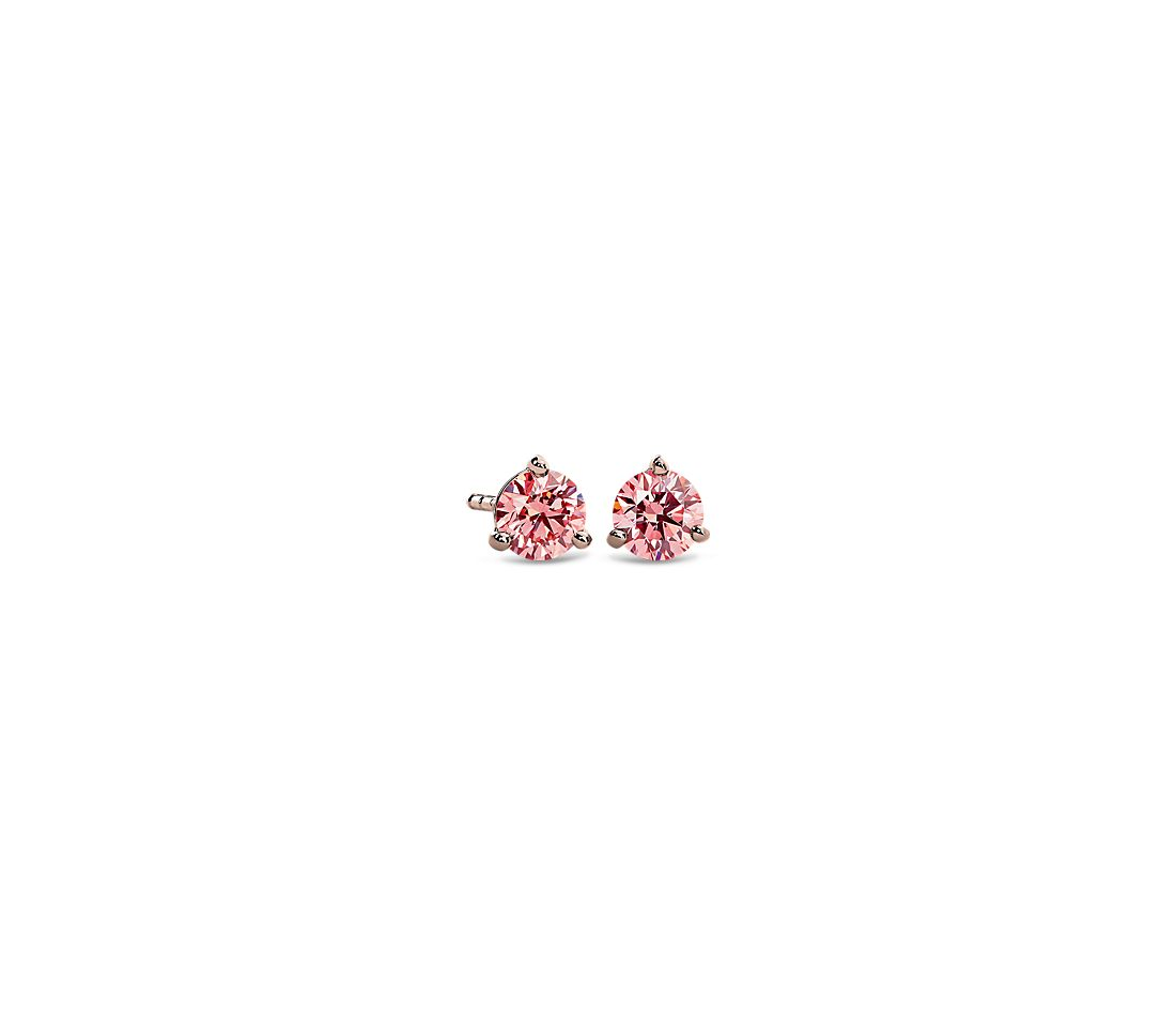 LIGHTBOX Lab-Grown Pink Round Diamond Solitaire Martini Stud Earrings in 14k Rose Gold (1/2 ct. tw.)
