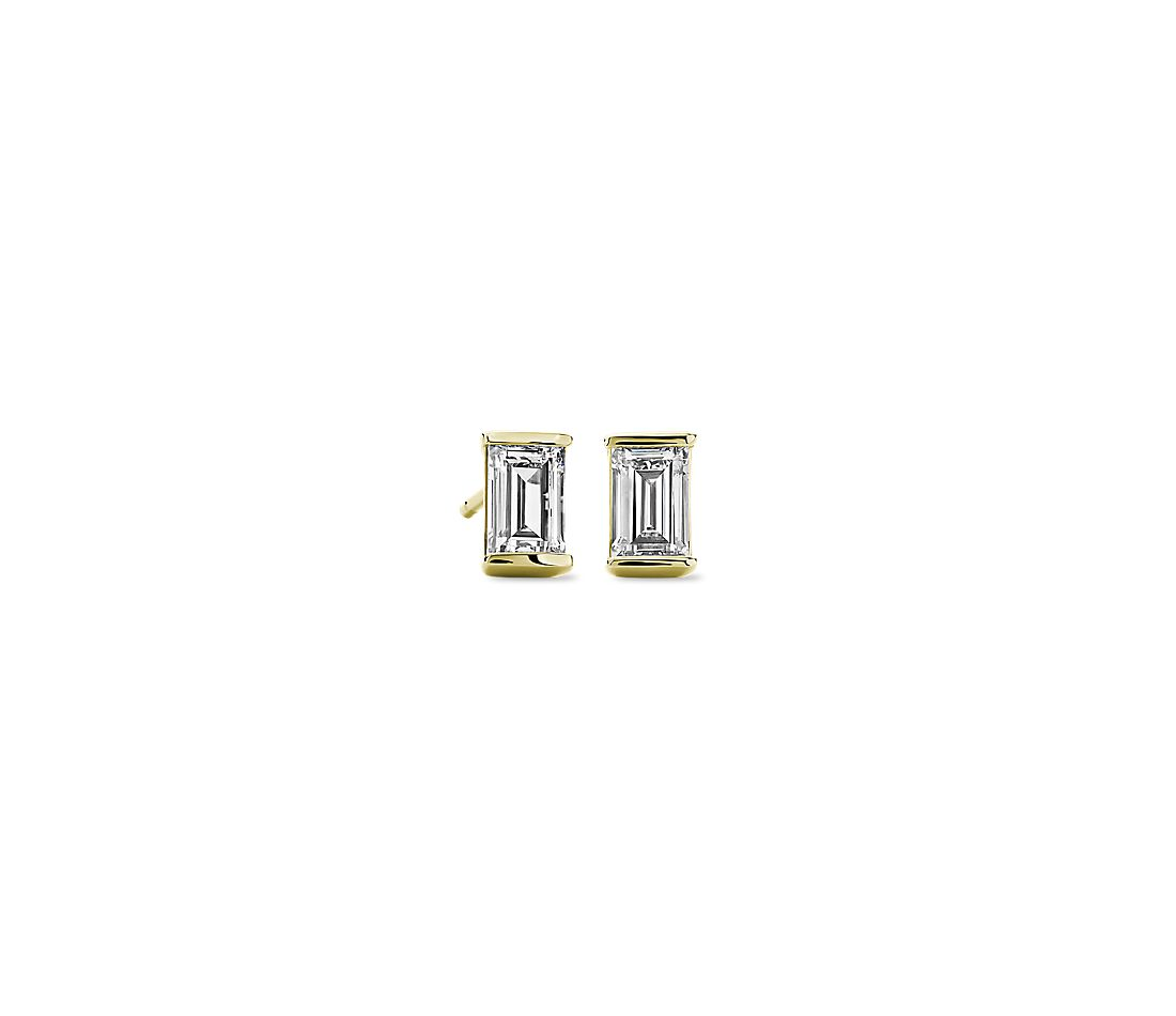 LIGHTBOX Lab-Grown Solitaire Diamond Baguette Stud Earrings in 14k Yellow Gold (3/4 ct. tw.)