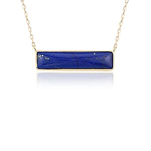 Lapis Bar Necklace in 14k Yellow Gold