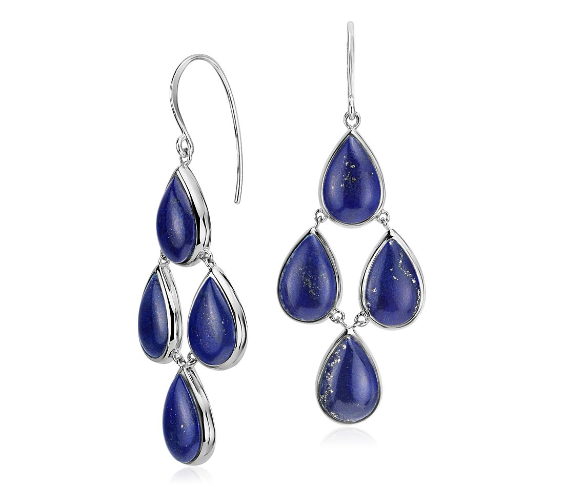 Lapis Statement Drop Earrings In Sterling Silver 11 5x7 7mm