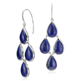 Lapis Statement Drop Earrings in Sterling Silver (11.5x7.7mm)
