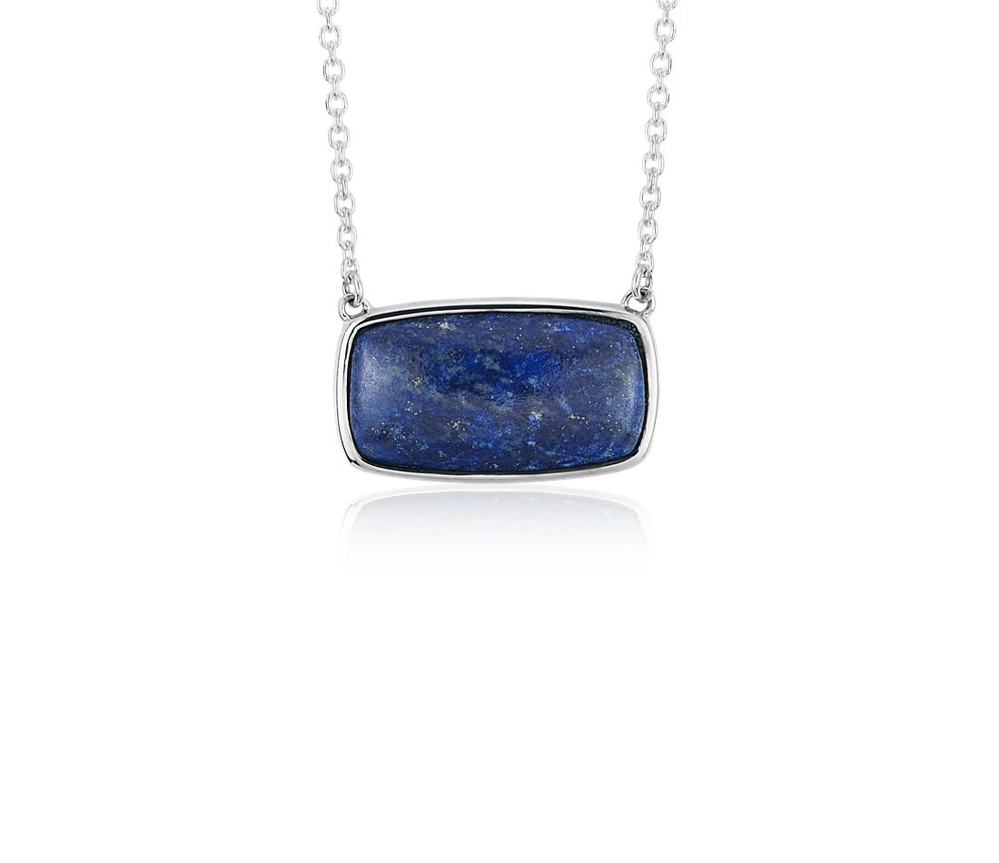Lapis Necklace in Sterling Silver (10x16mm)