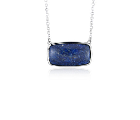 Collier en lapis en argent sterling (10 x 16 mm)