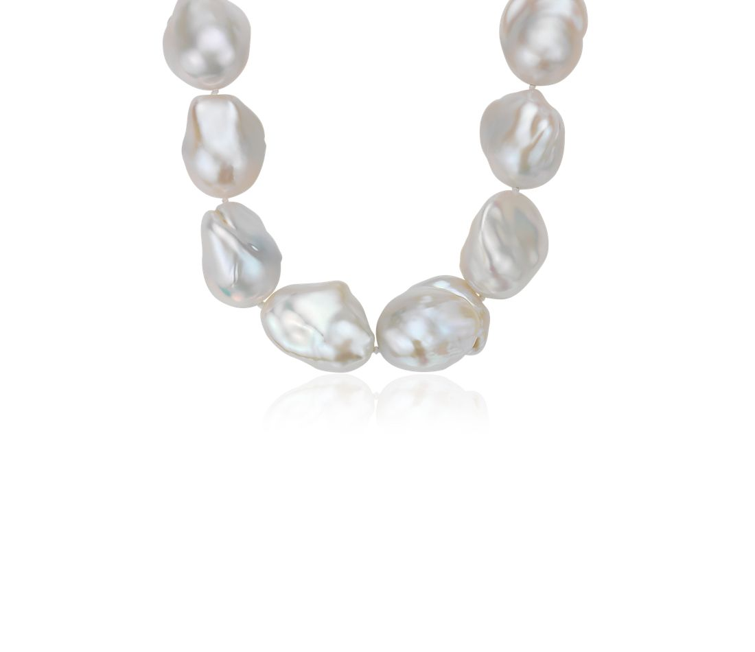 Large Baroque Freshwater Cultured Pearl Necklace in 18k White Gold (20-22 mm)