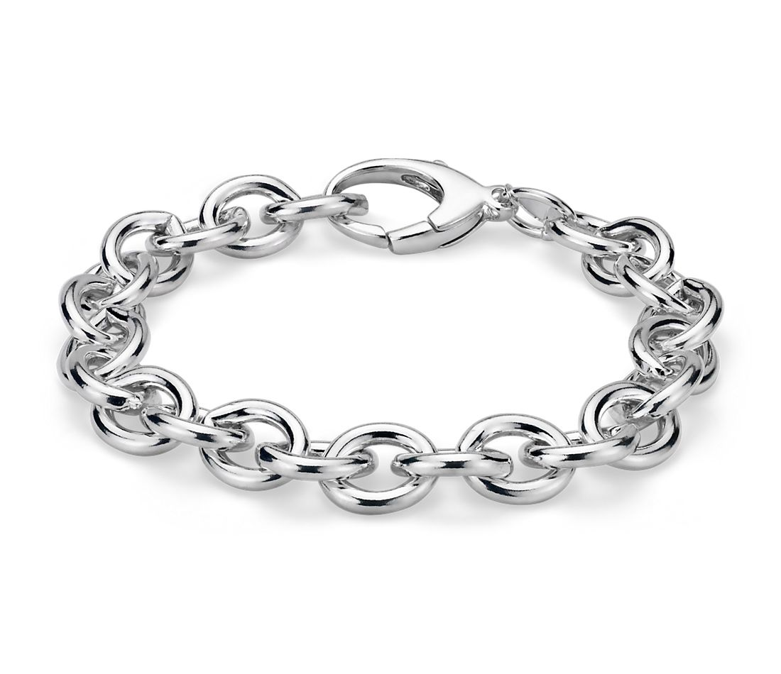 Large Cable Chain Bracelet in Sterling Silver