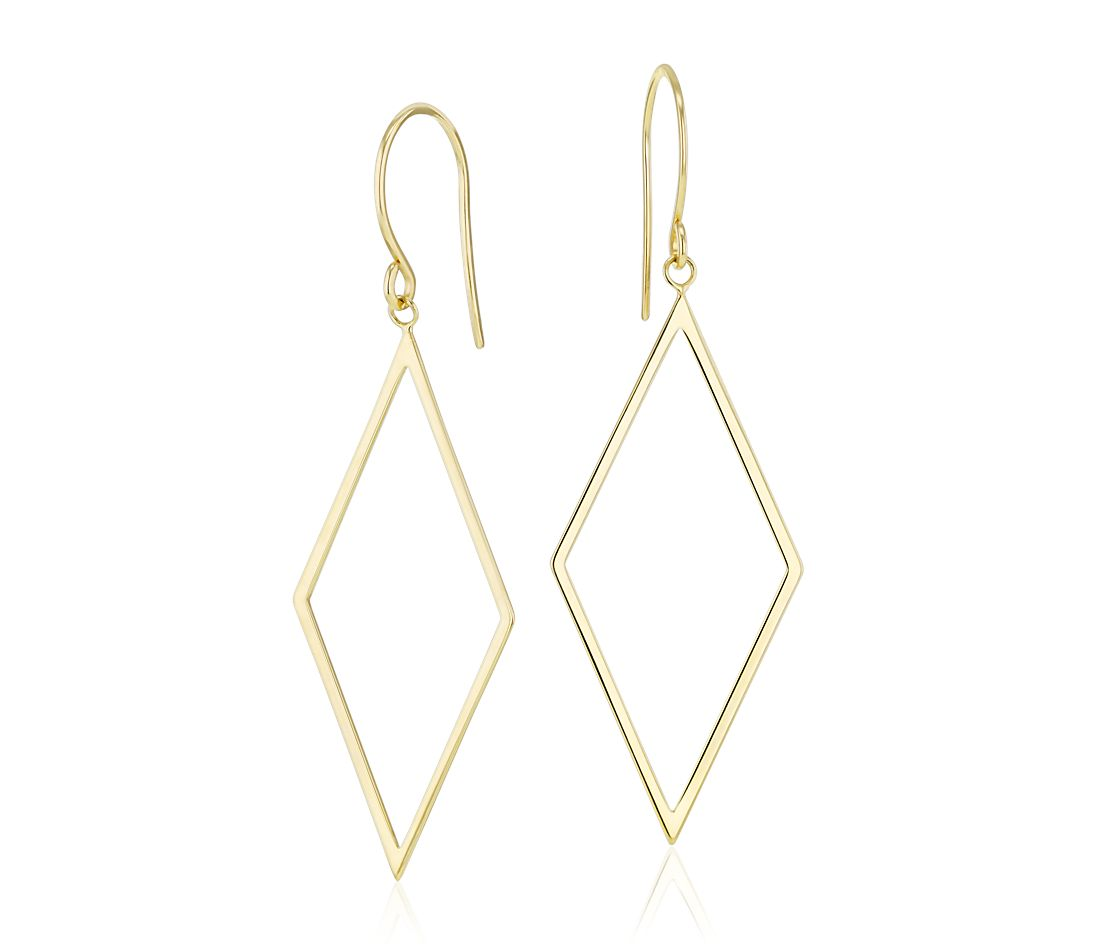 Large Diamond Dangle Earrings in 14k Yellow Gold