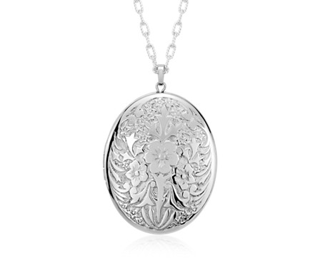 Blue Nile Large Floral Locket in Sterling Silver (30) ZxGGosPCLg