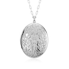 "Large Floral Locket in Sterling Silver (30"")"