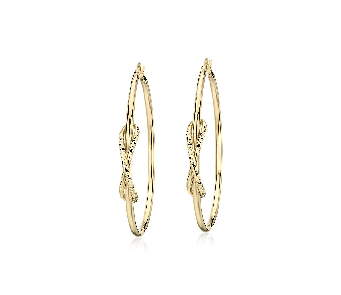 "Large Hoop Earrings with Infinity Detail in 14k Yellow Gold (2"")"