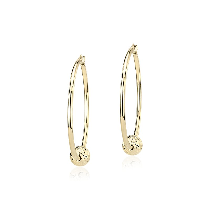 """Large Hoop Earrings with Textured Bead in 14k Yellow Gold (1 1/2"""""""