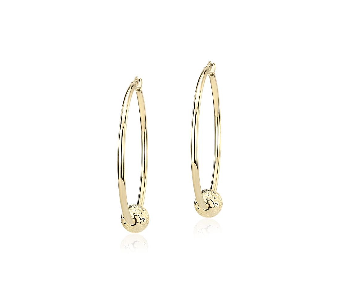 "Large Hoop Earrings with Textured Bead in 14k Yellow Gold (1 1/2"")"