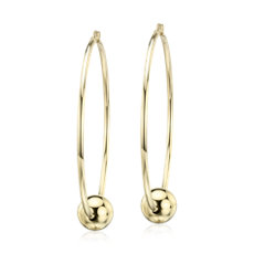 Large Hoop Earrings with Bead in 14k Yellow Gold