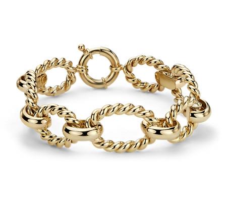 Bracelet tressé grosse maille en or jaune italien 14carats