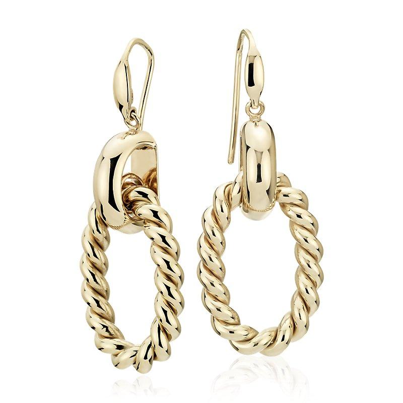 Large Link Braided Drop Earrings in 14k Italian Yellow Gold