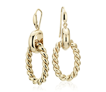 Large Link Braided Drop Earrings in 14k Yellow Gold