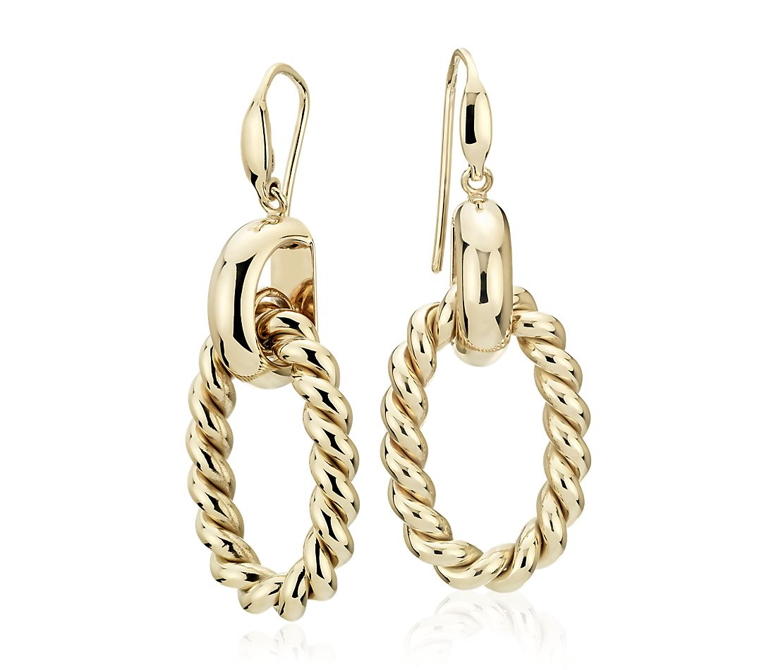 Large Link Braided Drop Earrings in 14k Italian Yellow Gold